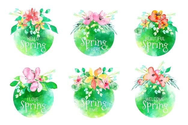 Colección de etiquetas de primavera de diseño de acuarela