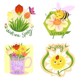 Colección de etiquetas de primavera de diseño dibujado a mano