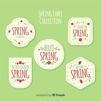 Colección de etiquetas de primavera en diseño plano