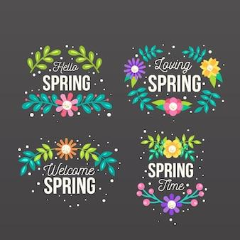 Colección de etiquetas de primavera de diseño plano