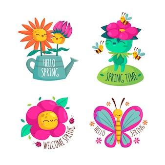 Colección de etiquetas de primavera estilo plano