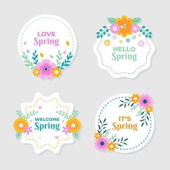Colección de etiquetas de primavera plana