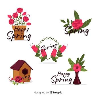 Colección etiquetas primavera rosas