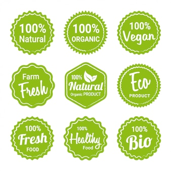 Colección de etiquetas de productos orgánicos naturales.
