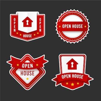 Colección de etiquetas de puertas abiertas
