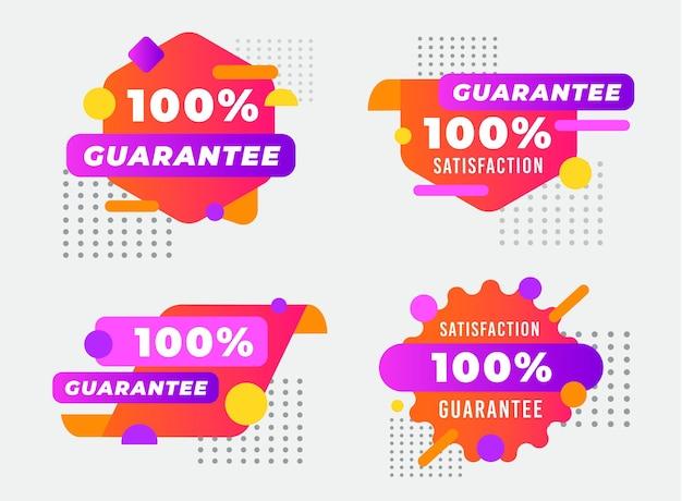 Colección de etiquetas punteadas 100% garantía