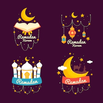 Colección de etiquetas de ramadán dibujadas a mano