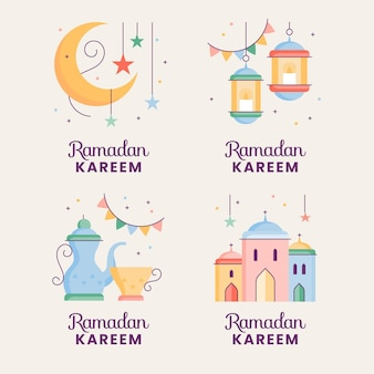 Colección de etiquetas ramadán dibujadas a mano