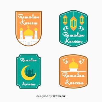 Colección de etiquetas de ramadán en diseño plano