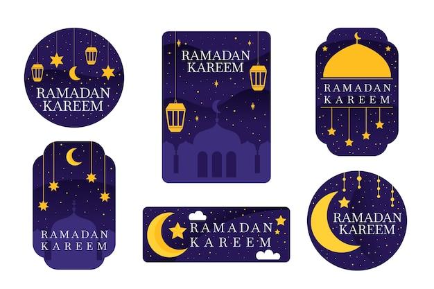 Colección de etiquetas de ramadán de diseño plano