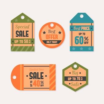 Colección de etiquetas de rebajas de aspecto vintage