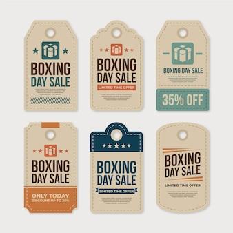 Colección de etiquetas de rebajas de boxing day en diseño plano