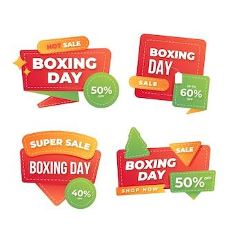 Colección de etiquetas de rebajas de boxing day planas