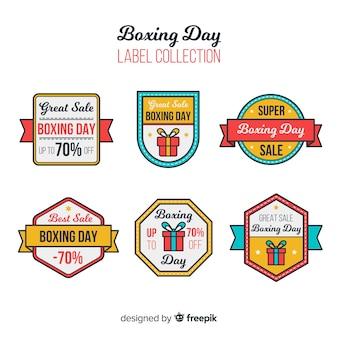 Colección etiquetas rebajas día del empaquetado con cinta