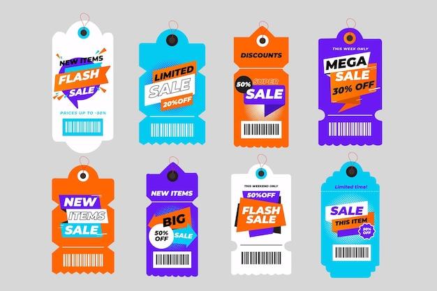 Colección de etiquetas de rebajas de diseño plano