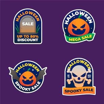 Colección de etiquetas de rebajas de halloween con degradado