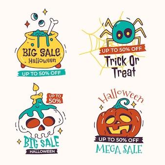 Colección de etiquetas de rebajas de halloween dibujadas a mano