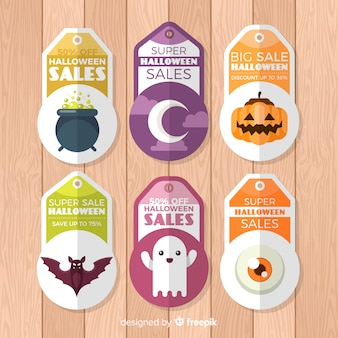 Colección de etiquetas de rebajas de halloween con diseño plano