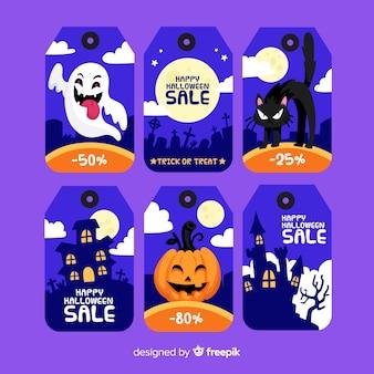 Colección de etiquetas de rebajas de halloween en diseño plano