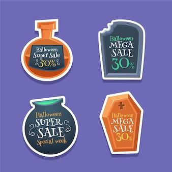 Colección de etiquetas de rebajas de halloween de diseño plano