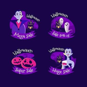 Colección de etiquetas de rebajas de halloween planas dibujadas a mano