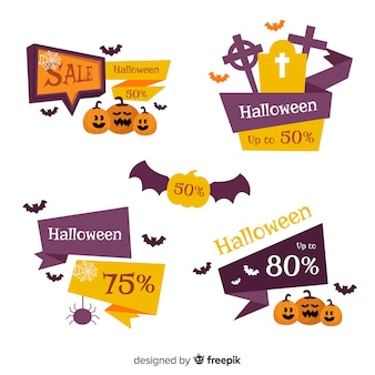 Colección de etiquetas de rebajas de halloween