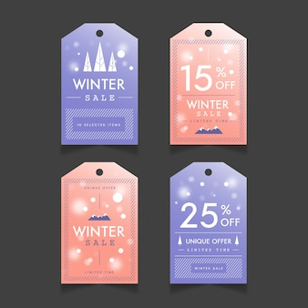 Colección de etiquetas de rebajas de invierno