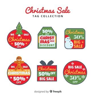Colección de etiquetas de rebajas de navidad
