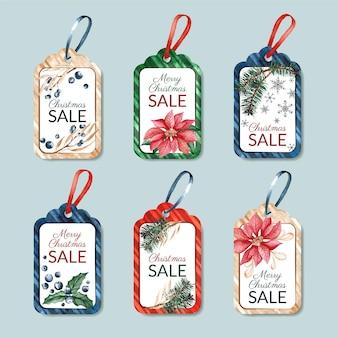 Colección de etiquetas de rebajas navideñas en acuarela