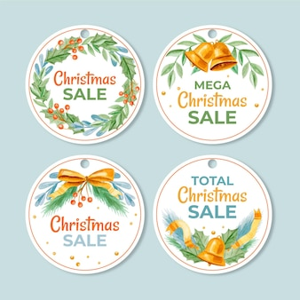 Colección de etiquetas de rebajas navideñas de acuarela