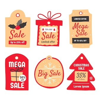 Colección de etiquetas de rebajas navideñas dibujadas a mano