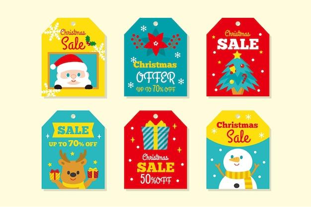 Colección de etiquetas de rebajas navideñas de diseño plano
