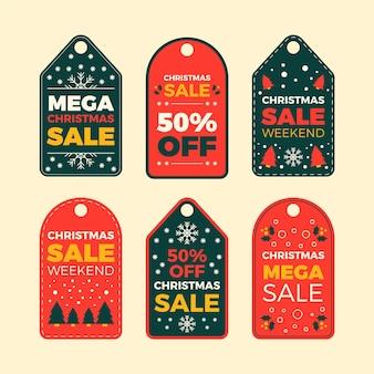 Colección de etiquetas de rebajas navideñas planas
