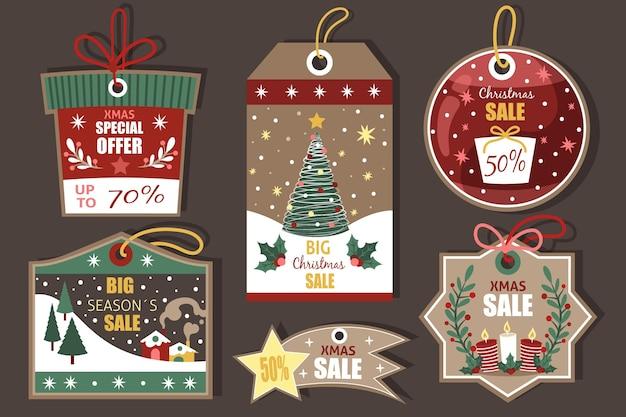 Colección de etiquetas de rebajas navideñas vintage