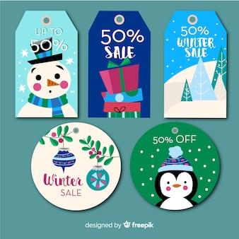 Colección de etiquetas de rebajas navideñas