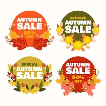 Colección etiquetas rebajas otoño dibujadas a mano