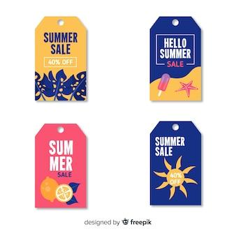 Colección de etiquetas de rebajas de verano coloridas