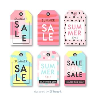 Colección etiquetas rebajas de verano coloridas