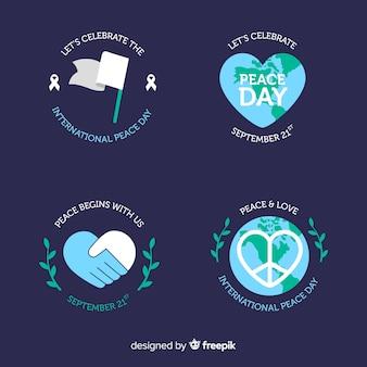 Colección de etiquetas redondas del día plano de la paz
