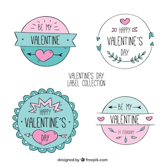 Colección de etiquetas redondas para el día de san valentín