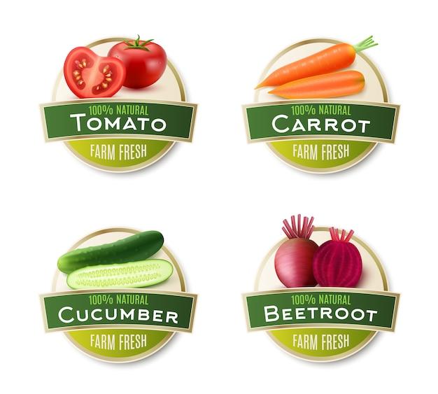 Colección de etiquetas redondas de verduras frescas de la granja.