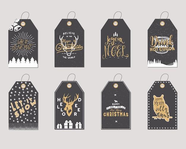 Colección de etiquetas de regalo de feliz navidad y año nuevo.