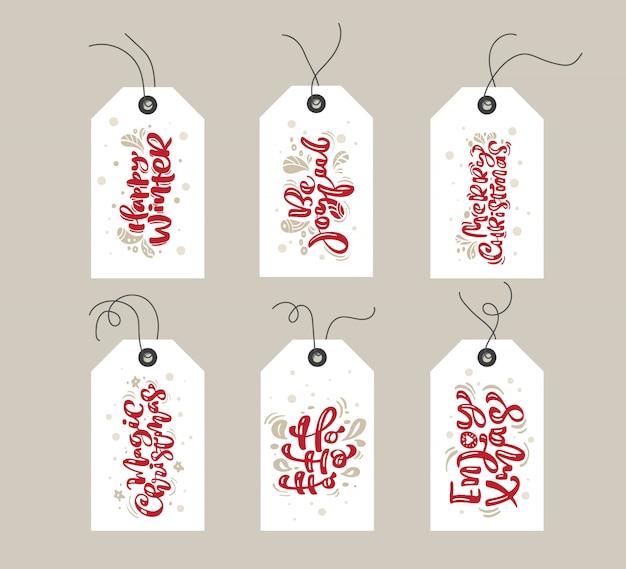 Colección de etiquetas de regalo de feliz navidad con texto escrito a mano