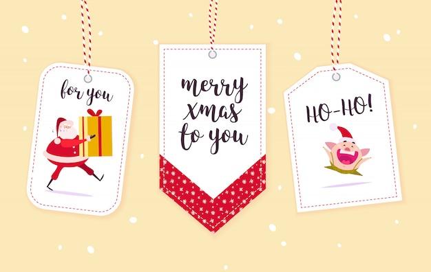 Colección de etiquetas de regalo de navidad aislado.
