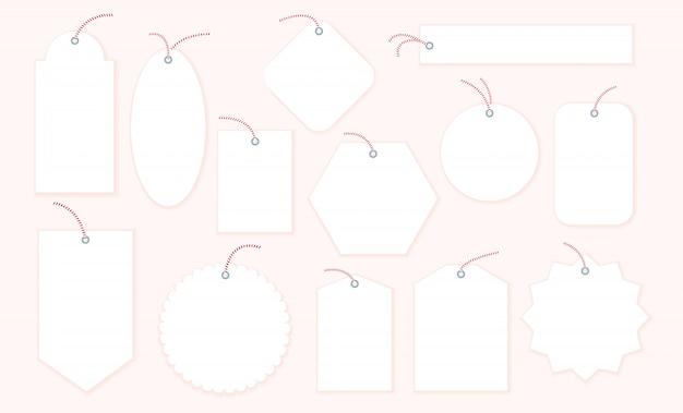 Colección de etiquetas de regalo de navidad en blanco