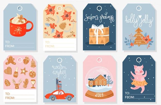 Colección de etiquetas de regalo de navidad.