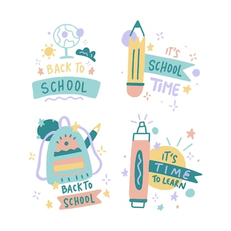 Colección de etiquetas de regreso a la escuela dibujadas a mano