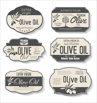 Colección de etiquetas retro de aceite de oliva