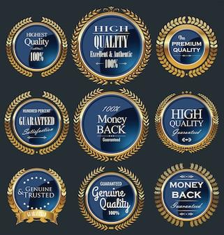 Colección de etiquetas retro doradas de calidad premium