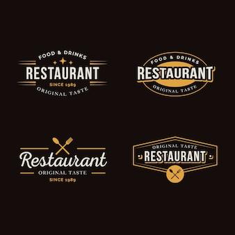 Colección de etiquetas retro de restaurante